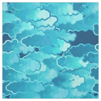 Japanese Clouds, Evening Sky, Turquoise and Indigo Fabric