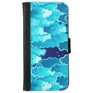 Japanese Clouds, Evening Sky, Turquoise and Indigo iPhone 6 Wallet Case