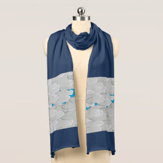 Japanese Clouds, Summer Day, White and Sky Blue Scarf Wraps