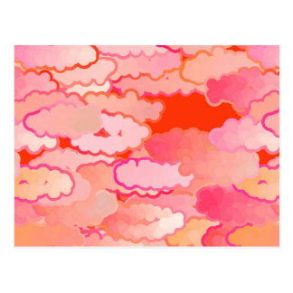 Japanese Clouds, Sunset, Coral, Fuchsia, Pink Postcard