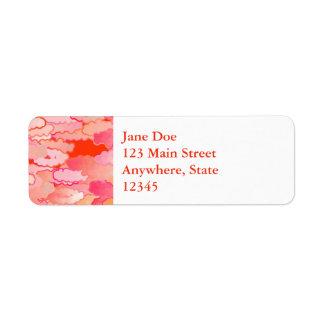 Japanese Clouds, Sunset, Coral, Fuchsia, Pink Return Address Label
