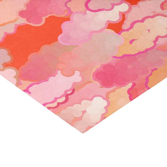 Japanese Clouds, Sunset, Coral, Fuchsia, Pink Tissue Paper