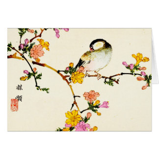 Japanese Colorful Flowers & Bird Greeting Card