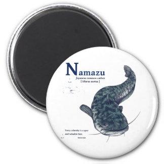Japanese common catfish - Navy Blue 6 Cm Round Magnet