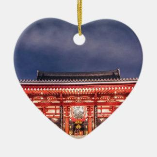 Japanese couple praying at Asakusa Temple, Tokyo Ceramic Heart Decoration