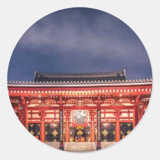 Japanese couple praying at Asakusa Temple, Tokyo Classic Round Sticker