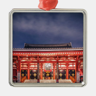 Japanese couple praying at Asakusa Temple, Tokyo Silver-Colored Square Decoration
