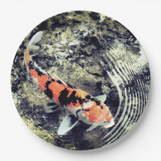 Japanese coy fish plate