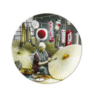 Japanese Craftsman Umbrella Maker No. 2 Vintage Plate