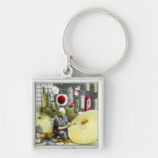Japanese Craftsman Umbrella Maker No. 2 Vintage Silver-Colored Square Key Ring