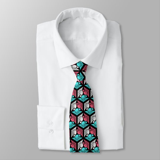 Japanese Cranes, Coral, Turquoise and Black Tie