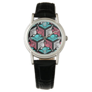Japanese Cranes, Coral, Turquoise and Black Watch