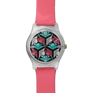 Japanese Cranes, Coral, Turquoise and Black Wrist Watch