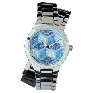 Japanese Cranes, Navy, White, and Light Blue Wristwatches