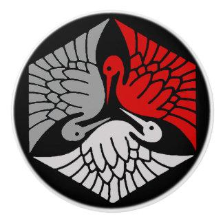 Japanese Cranes, Red, Gray / Grey and Black Ceramic Knob