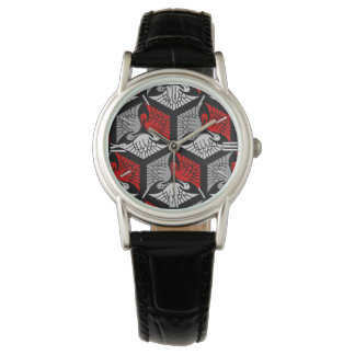 Japanese Cranes, Red, Gray / Grey and Black Wristwatches