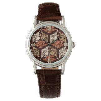 Japanese Cranes, Tan, Rust & Chocolate Brown Wristwatches