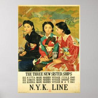 Japanese Cruise Ship Vintage Travel Art Poster