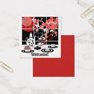 Japanese cuisine square business card