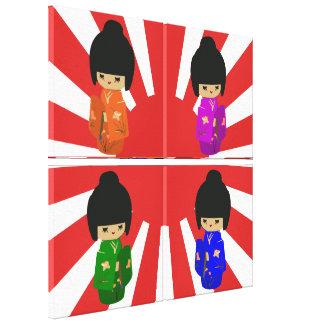 Japanese Cute Kokeshi Doll on rising sun pop art Canvas Prints