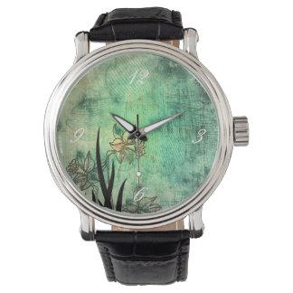 Japanese Daffodil Aquamarine Scratch Print Wrist Watch