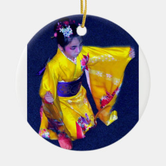 Japanese Dancer 5 Double-Sided Ceramic Round Christmas Ornament