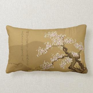 Japanese Design :: Sakura by the River sepia style Lumbar Pillow
