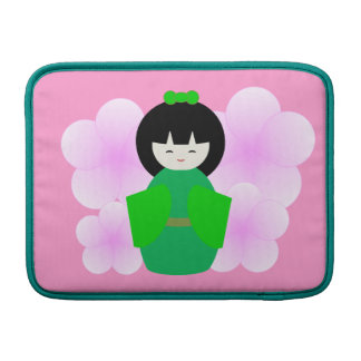Japanese Doll with Cherry Blossom MacBook Sleeves