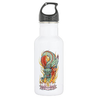Japanese Dragon and Lotus Flower 532 Ml Water Bottle