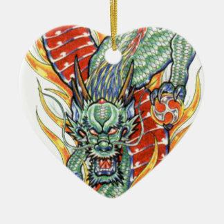 Japanese Dragon and Lotus Flower Ceramic Heart Decoration