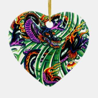 Japanese Dragon Tattoo Ceramic Heart Decoration