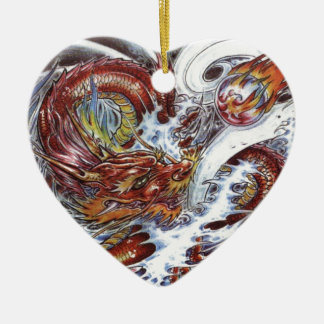 Japanese Dragon Tattoo Design Ceramic Heart Decoration