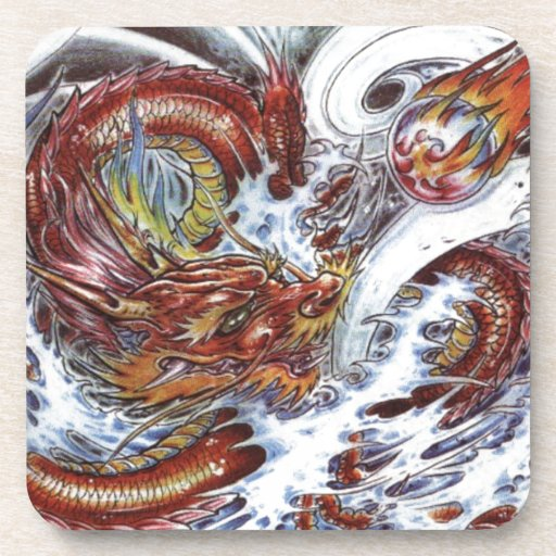 Japanese Dragon Tattoo Design Drink Coasters