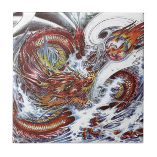Japanese Dragon Tattoo Design Small Square Tile