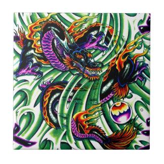 Japanese Dragon Tattoo Small Square Tile