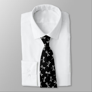 Japanese Dragonfly Pattern, Black and White Tie
