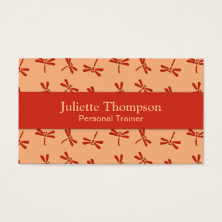 Japanese Dragonfly Pattern, Coral Orange Business Card