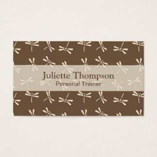 Japanese Dragonfly Pattern, Cream and Taupe Tan Business Card