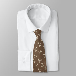 Japanese Dragonfly Pattern, Cream and Taupe Tan Tie
