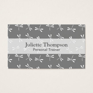 Japanese Dragonfly Pattern, Grey / Gray and White Business Card
