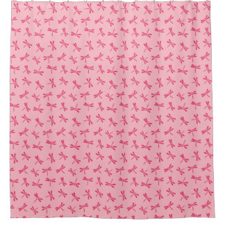 Japanese Dragonfly Pattern, Light Coral Pink Shower Curtain