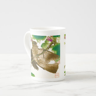 Japanese Drawing of Jay on a Grape Vine Tea Cup