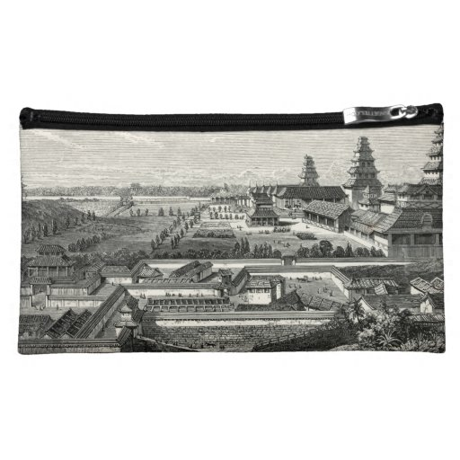 Japanese Edo Tokyo Castle Palace Complex Engraving Cosmetic Bag