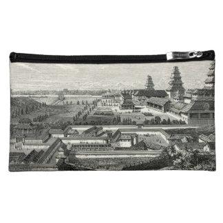 Japanese Edo Tokyo Castle Palace Complex Engraving Makeup Bag