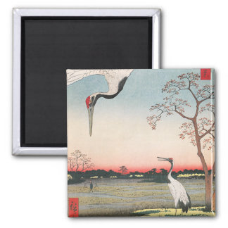 Japanese Egrets Square Magnet