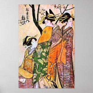 Japanese Engraving of Three Geisha Posters