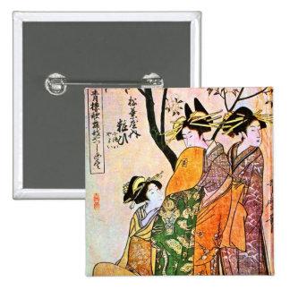 Japanese Engraving Three Geisha 1911 Pins