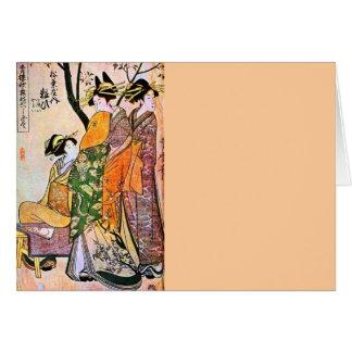 Japanese Engraving Three Geisha 1911 Card