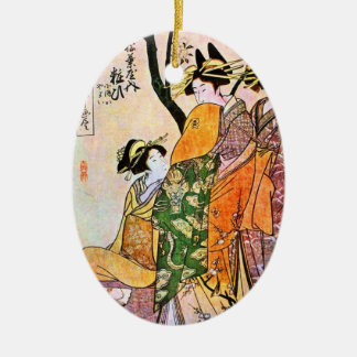 Japanese Engraving Three Geisha 1911 Ceramic Oval Decoration