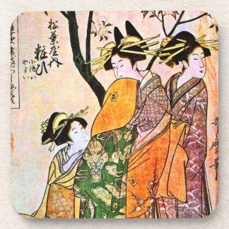 Japanese Engraving Three Geisha 1911 Beverage Coasters